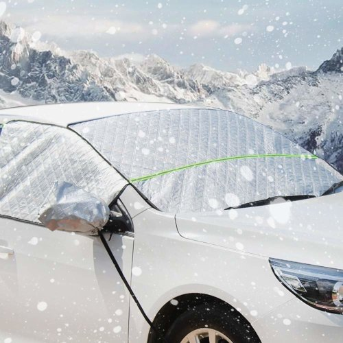 Car Windshield Snow Cover Universal Waterproof Windproof Dustproof Frost Guard Outdoor Auto Front Windscreen Cover Sun Shade with Reflective Strip