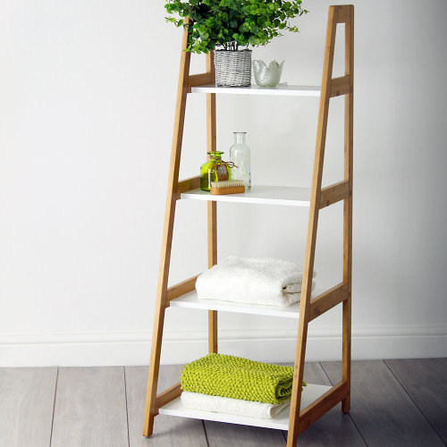 White & Bamboo Bathroom Ladder Storage Shelving Unit