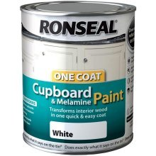 Ronseal One Coat Cupboard Melamine & MDF Paint 750ml - HIGH GLOSS White