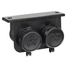 Black 12v & 24v 15 Amp Twin Waterproof Sockets - Screw Down Cigarette Lighter -  screw down twin cigarette lighter aux auxiliary 12v 24v sockets 15a