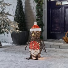 Winter Workshop - 50cm Battery Operated Outdoor Rattan Robin Christmas Figure - 40 Multi-Functional Timed Warm White LED Lights