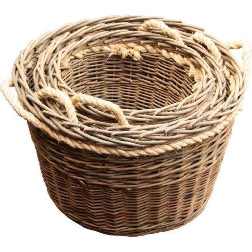Set of 3 Green Rope Handled Log Baskets