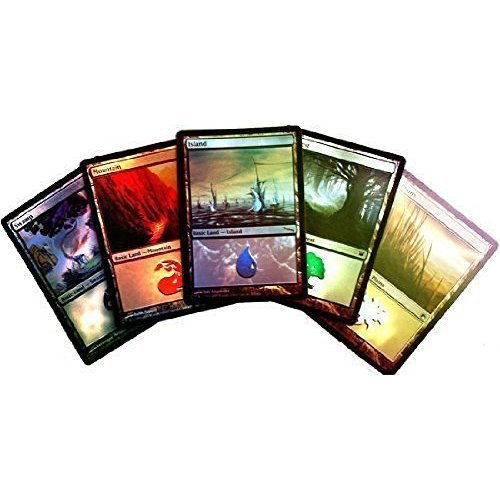 MTG Magic the Gathering 20 Assorted Foil Land (4 Forest, Island, Mountain, Plains, Swamp)
