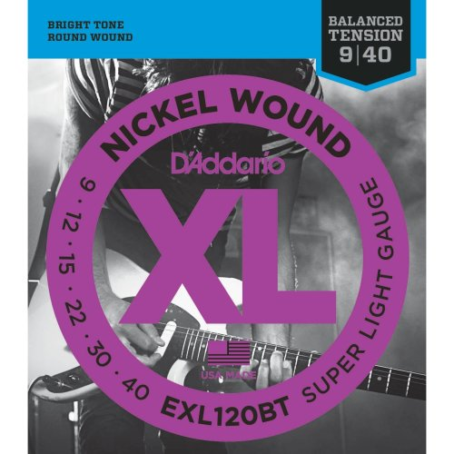 D'Addario EXL120BT 9-40 Balanced Tension Super Light Nickel Wound Electric Guitar Strings