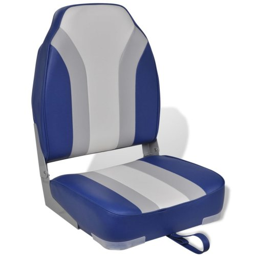 vidaXL Foldable Boat Chair High Backrest Blue White Marine Fishing Yacht Seat