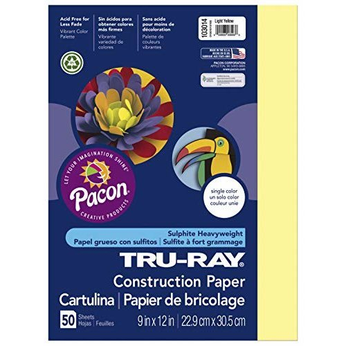 Pacon Tru Ray Construction Paper 18 x 24 50 Count Light Yellow 103078