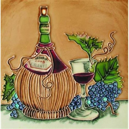 En Vogue B-236 Chianti Bottle and Glass Square - Decorative Ceramic Art Tile - 8 in. x 8 in.