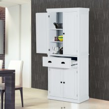 Homcom Storage Cabinet Cupboard Kitchen Pantry Organiser - White