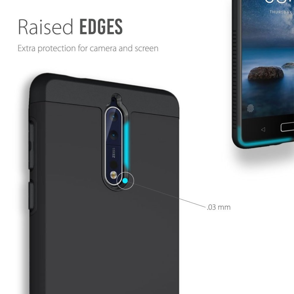 super popular c8b6e a2086 TUDIA Nokia 8 Case, Slim-Fit HEAVY DUTY [MERGE] EXTREME Protection / Rugged  but Slim Dual Layer Case for Nokia 8 (Matte Black)