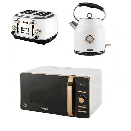 ROSE GOLD WHITE Digital Microwave, 1.7L Traditional Bottega Kettle & 4 Slice Toaster