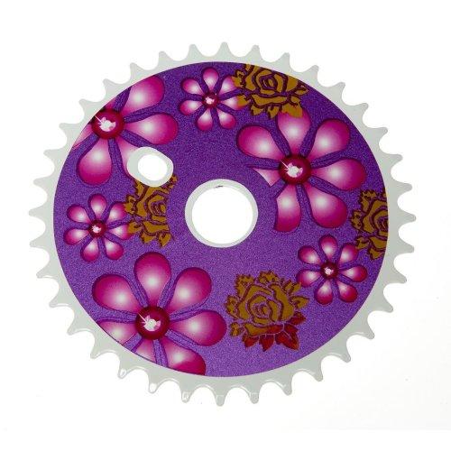36T TEETH SPROCKET for ONE PIECE CRANK Bike/Bicycle PURPLE FLOWERS New