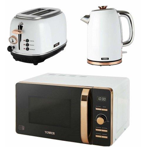 ROSE GOLD WHITE Digital Microwave, 1.7 Litre Jug Bottega Kettle & 2 Slice Toaster