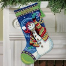 D71-09143 - Dimensions Needlepoint Kit - Stocking: Happy Snowman