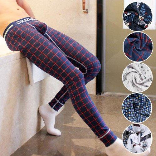 Brand men long johns mens warm pants thin elastic line of men\'s fashion cotton print sexy underwear tight legging long Johns