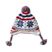 Warm Hat Knitted Hat Plus Velvet Ear Protection Hat Snowflake Jacquard Pattern