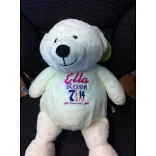 SALE White Teddy Bear - Personalised With Name, Message or Birth Date