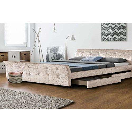 Designer Sienna Sleigh Velvet 4 Drawer Storage Bed