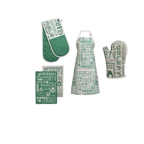 Porter Oven Gloves, Apron And Tea Towels, Green - Set Of 5