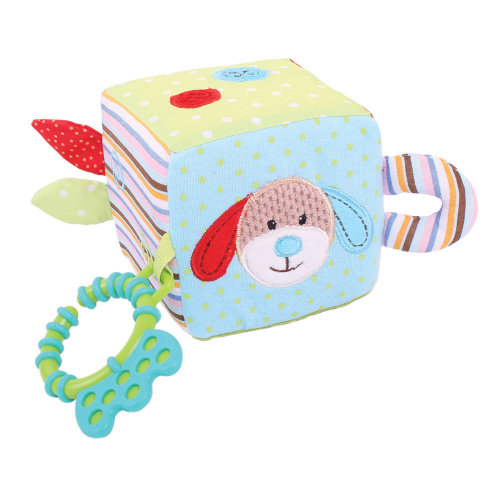 Bigjigs Toys Soft Plush Bruno Activity Cube - Newborn Baby Sensory Development Toy