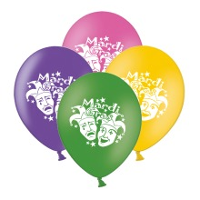 """Mardi Gras Masks  Mix 4 Assorted 12"""" Latex Balloons pack of 15"""