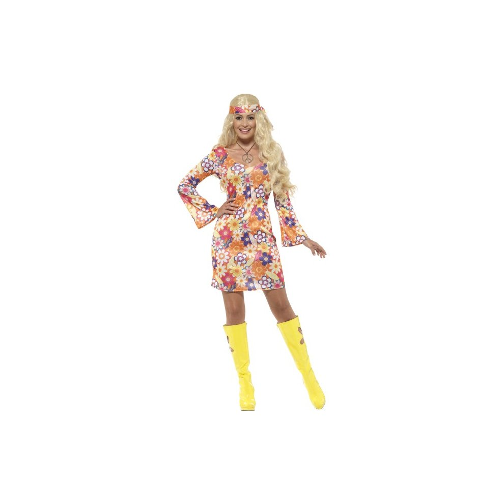 Multicoloured Ladies Flower Hippie Costume