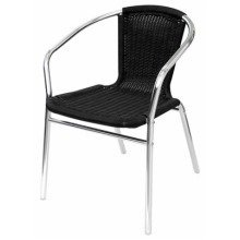 Yoakny 4 Outdoor Garden Aluminium and Black Chairs Stackable