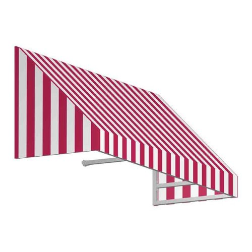 Awntech CN33-US-5RW 5.38 ft. New Yorker Window & Entry Awning, Red & White - 44 x 36 in.