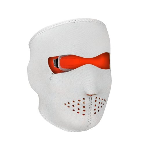 Full Face Reversible Neoprene Ski Mask - White / High Visibility Orange