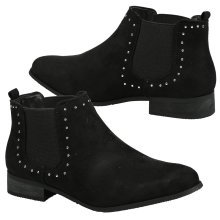 Leta Womens Low Heel Studded Chelsea Style Ankle Boots