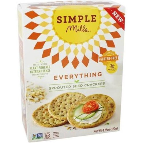 Simple Mills 2008829 4.25 oz Everything Sprouted Seed Crackers - Case of 6