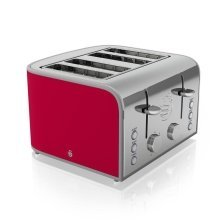 Swan 4 Slice Retro Toaster 1600 Watt - Red With Browning control (ST17010RN)