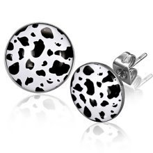 Urban Male 10mm Stainless Steel & Resin Animal Print Stud Earrings