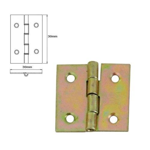 50 Pcs Folding Closet Cabinet Door Butt Hinge Brass Plated 30x30mm