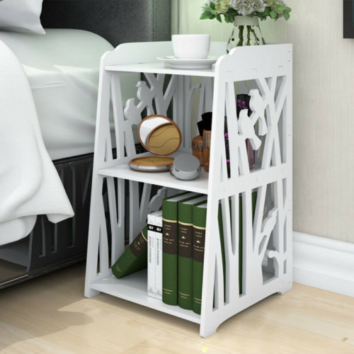 White Bedside Table Cabinet Cupboard Nightstand Storage Organizer Shelf Rack