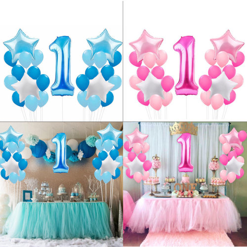 1st Birthday Decoration Blue Foil Balloons Blue for Boy, Pink for Girl Christening Party