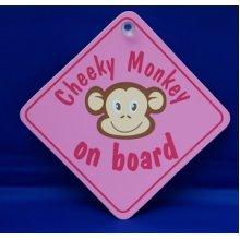 Pink Cheeky Monkey Diamond Hanger Sign