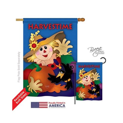 Breeze Decor 13031 Harvest & Autumn Harvestime 2-Sided Vertical Impression House Flag - 28 x 40 in.
