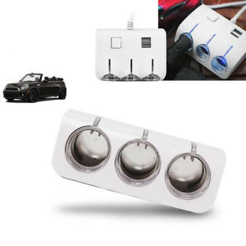 Car Cigarette Lighter Adapter 3 Way 2 USB Power Multi Socket Splitter Charger UK