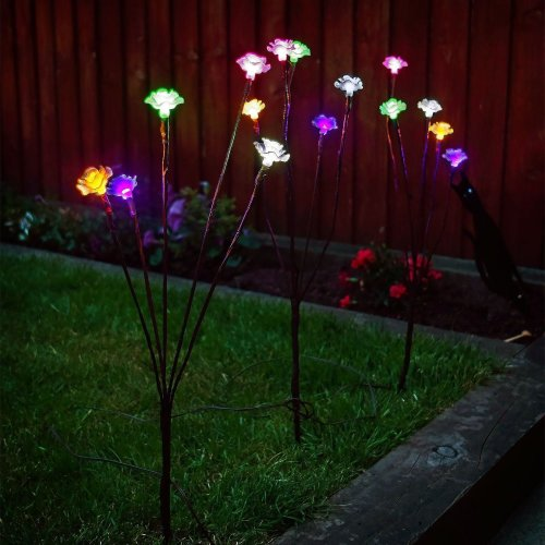 3 x Solar Garden Ornamental Stylish Flower Rose Floral Branch LED Light Coloured