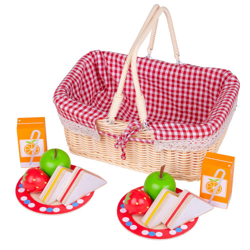 Bigjigs Toys Traditional Toy Picnic Basket with Play Food