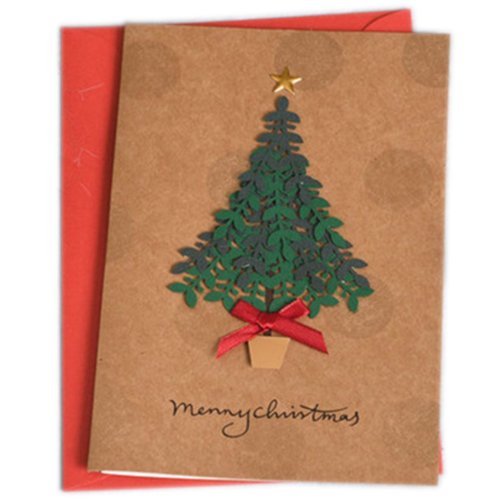 Christmas Cards Greeting Cards Christmas Gift Beauitful Xmas Cards (4 Cards and Envelopes), Brown #5