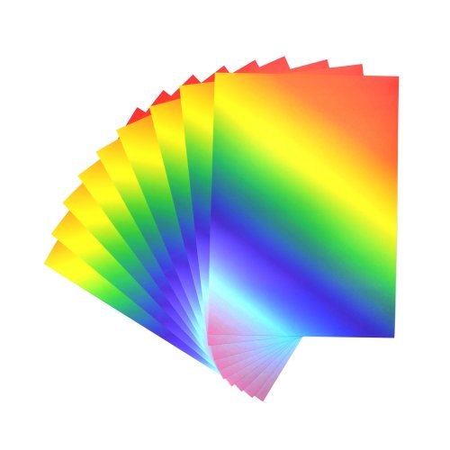 CI 50 Sheets of Vibrant Rainbow Printed A4 Card