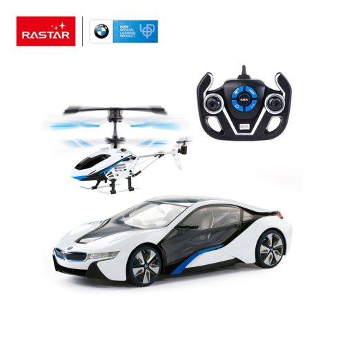 Rastar RC 1:14 BMW I8 & Helicopter Kids Remote Control Toy Car
