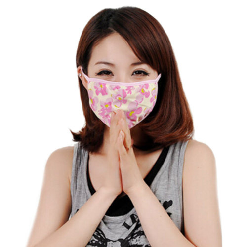 Breathable&Comfortable Four-layer Silk Knitted Mask Cold-proof Warm Mask Pink