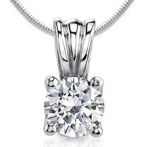 Prong-Set Solitaire Round Cut Diamond Women Pendant White Gold 14K