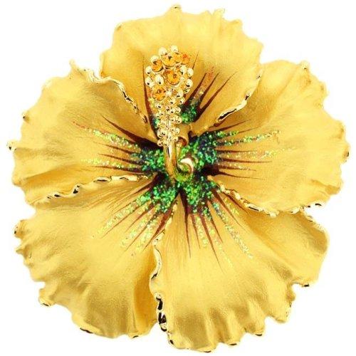 fd9b4db889f Fantasyard Topaz Hawaiian Hibiscus Swarovski Crystal Flower Brooch & Pendant  - Silver - 2.125 x 2.125 in. on OnBuy