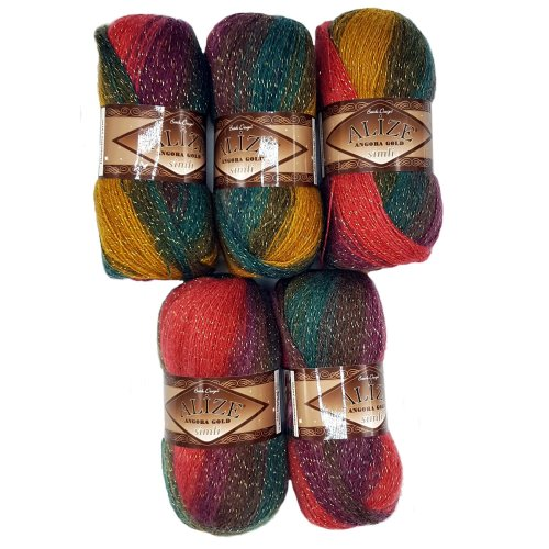 5 x 100 g Alize Glitter Berry Red Olive Ochre No. 3368 with Glitter Gradient Wool 500 g Metallic Scarf with Mohair