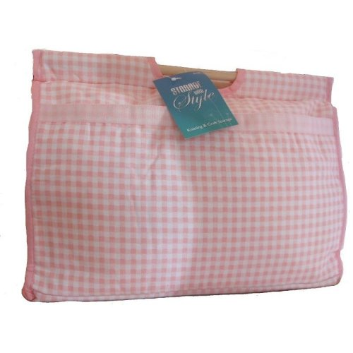 Pink Gingham Knitting / Crochet / Craft Bag with Wooden Handles