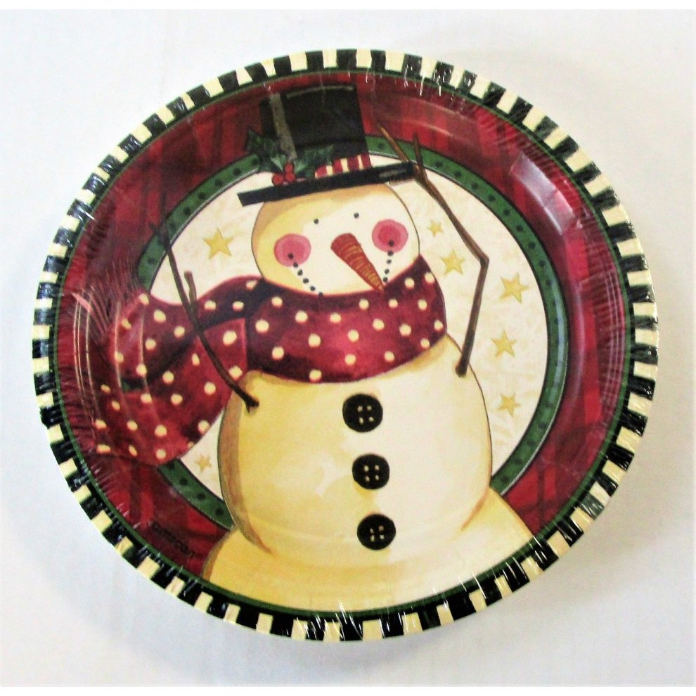"""Pack of 8 Cozy Snowman 7"""" Paper Plates - Christmas Party ..."""