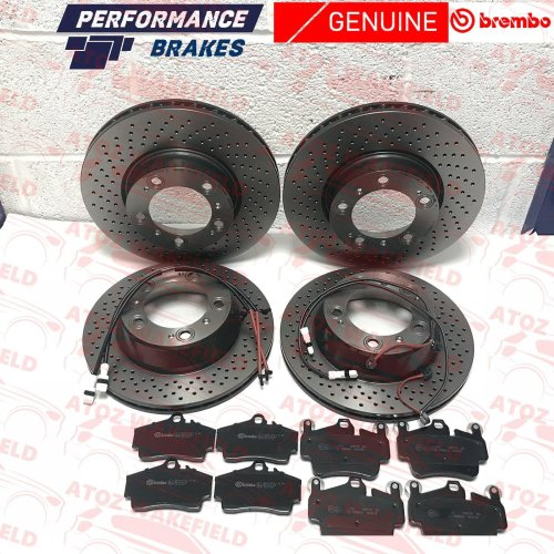 FOR PORSCHE 911 FRONT REAR GENUINE BREMBO BRAKE DISCS PADS + WEAR WIRES SENSORS